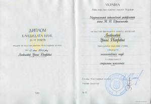 диплом кандидата психологічних наук - Ірина Логвінова